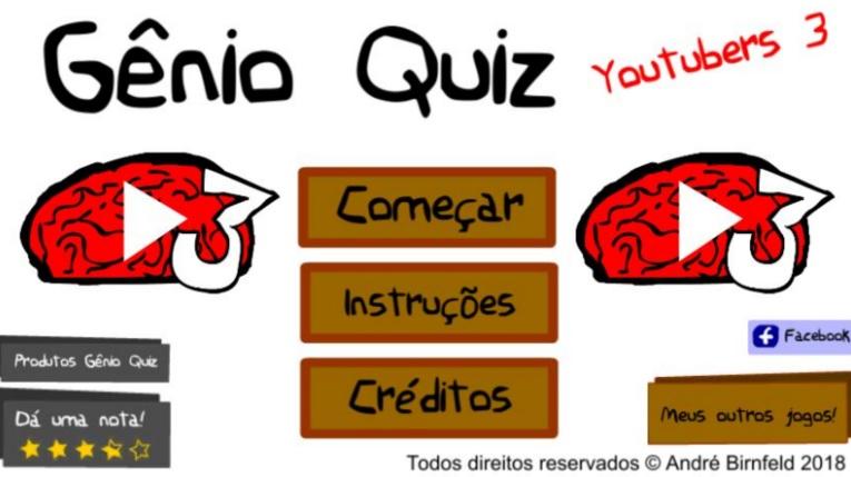 Gênio Quiz Youtubers 3 é um jogo online grátis do Gênio Quiz