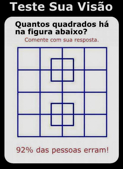 Quantos quadrados tem na imagem 92% das pessoas erram